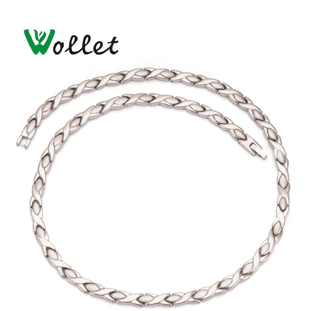 Wollet jóias saúde energia puro titânio hematite germânio infravermelho magnético 3 em 1 elementos colar para homem mulher
