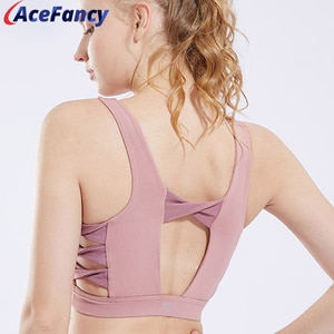 Acefancy Sports Crop Top Fitness Push Up Sports Bra Leisure Workout Yoga Tops Crop 18-114 PINK Backless Sportswear For Women Gym