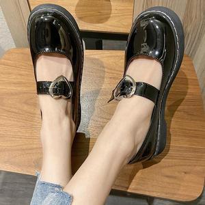 Mary Janes Women Shoes Spring 2021 Round Toe British Style Vintage Flats Shoes Buckle Strap Leather Flat Platform Single Shoe