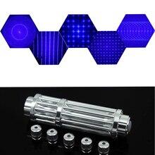 Puissante torche de pointeur Laser bleu 450nm 10000m pointeurs de visée Laser focalisables Laser lampe de poche allumette/brûle des cigares