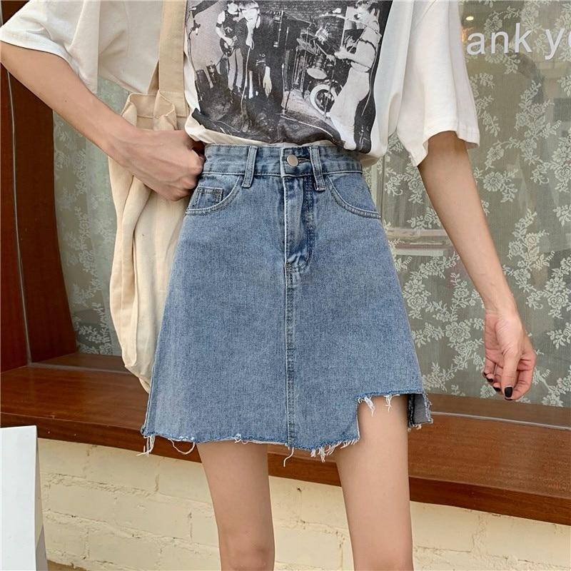 Summer Retro Hong Kong Style Denim Skirt A- Line Skirt Women's Design Sense Niche High Waist 2021 Ne