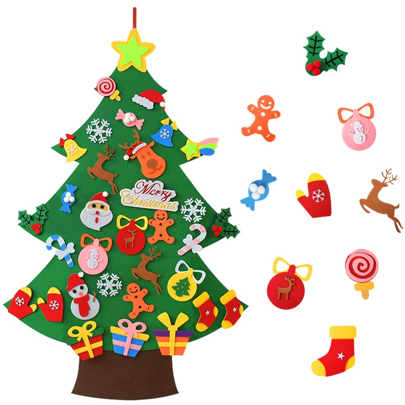 DIY Felt Christmas Tree Merry Christmas Decorations For Home 2020 Christmas Ornaments Xmas Tree Navidad New Year Gifts for Kids