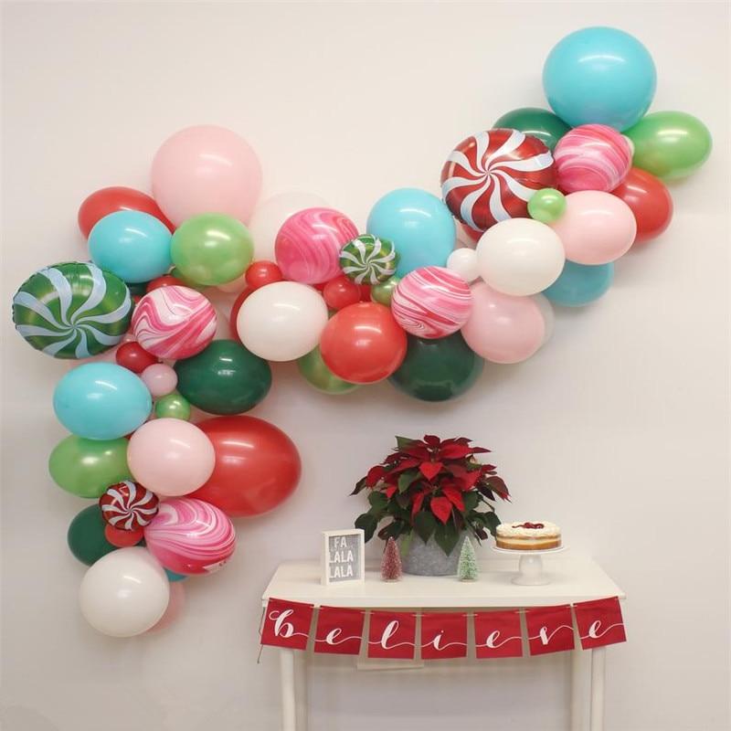 80pcs/set Christmas Balloon Garland featuring Candy Land, Holiday Balloon Garland, Christmas Party Decor, Christmas Balloons