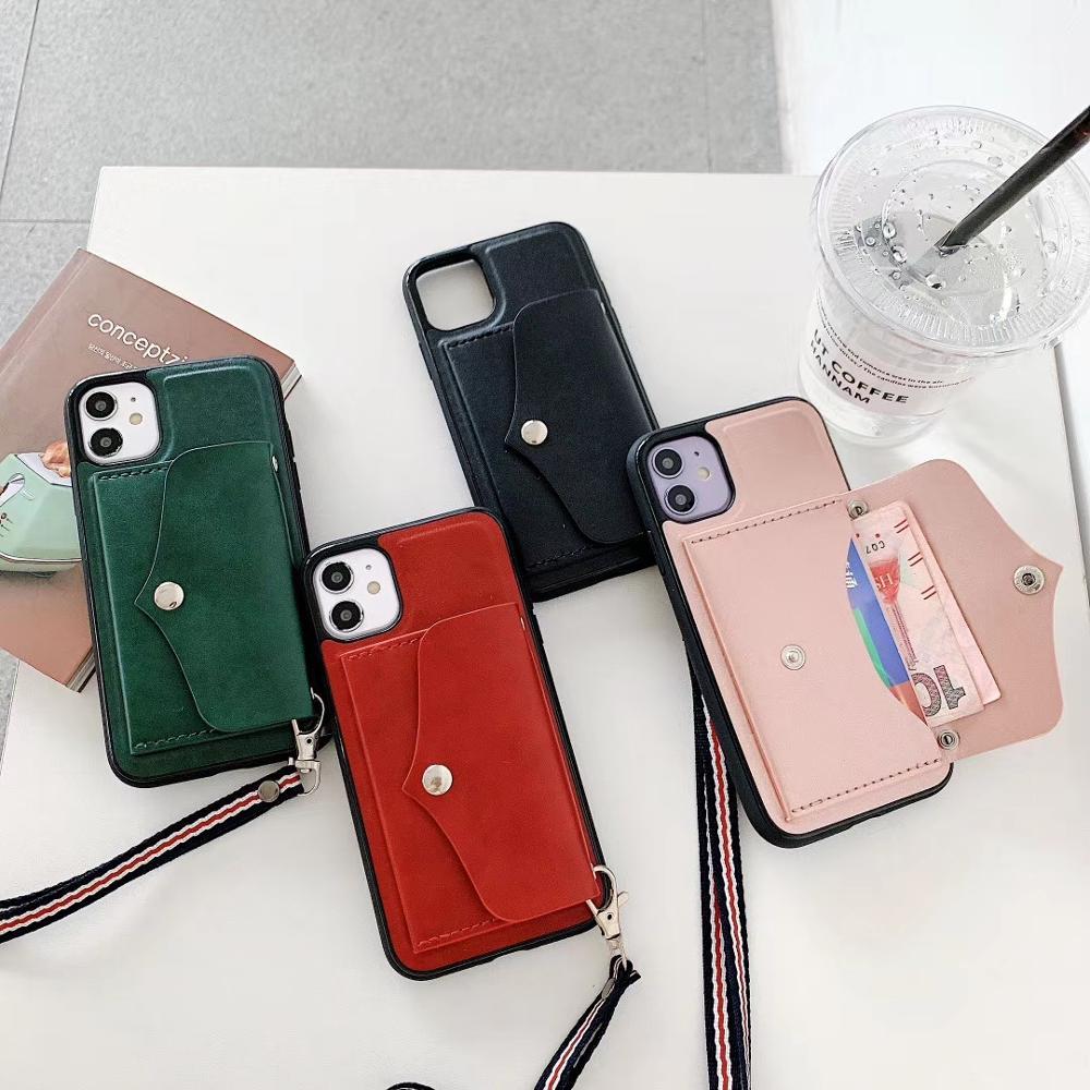 Billetera correa para iphone 12 11 11pro max X XS XR Ultra funda para iphone 7 8 plus Funda de cuero de lujo