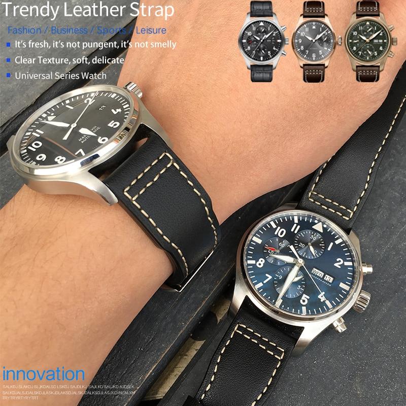 20mm 21mm 22mm Calfskin Leather Watch band Replacement for IWC Watch Pilot's PORTOFINO Mark18 Folding buckl strap Bracelets mens