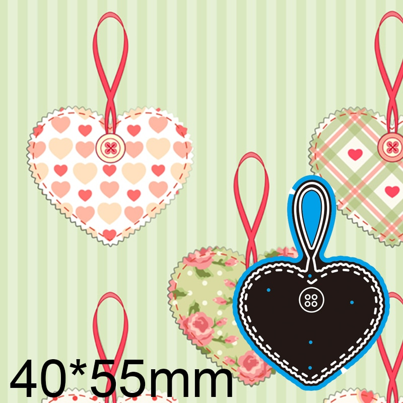 40*55mm Heart and Button Card Metal Dies New Stencils DIY Scrap Booking Paper Cards Craft Making Decoration