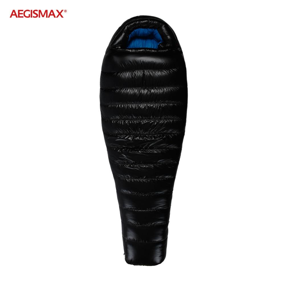 AEGISMAX 10 °C ~ 17 °C pato abajo saco de dormir 20D Nylon al aire libre Camping Thicken empalme caliente momia invierno saco de dormir FP650 +