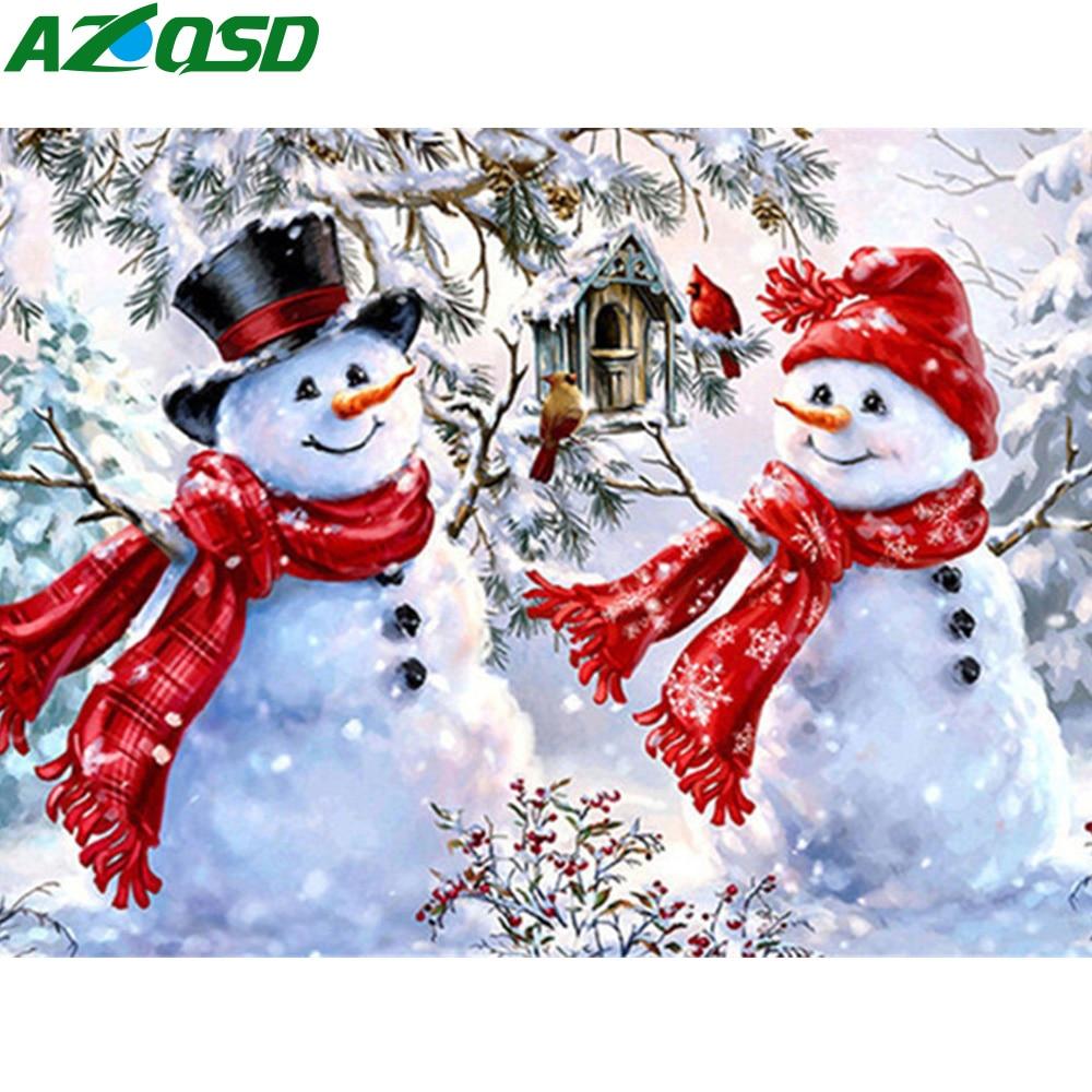 Azqsd pintura diamante boneco de neve ponto cruz diamante bordado inverno casa decoração presente artesanal strass 5d diy needlework