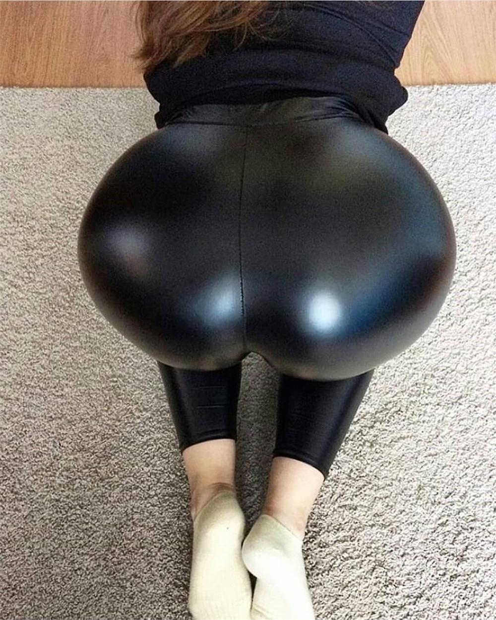 Everbellus Women Faux Leather Leggings Sexy Slim Black High Waist Elastic PU Pants Light&Matte Thin&Thick Plus Size Leggins