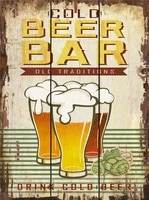 beer bar signs metal tin sign for your home kitchen diner bar pub and man cave cocktails retro sketch decoration 8x12 inches
