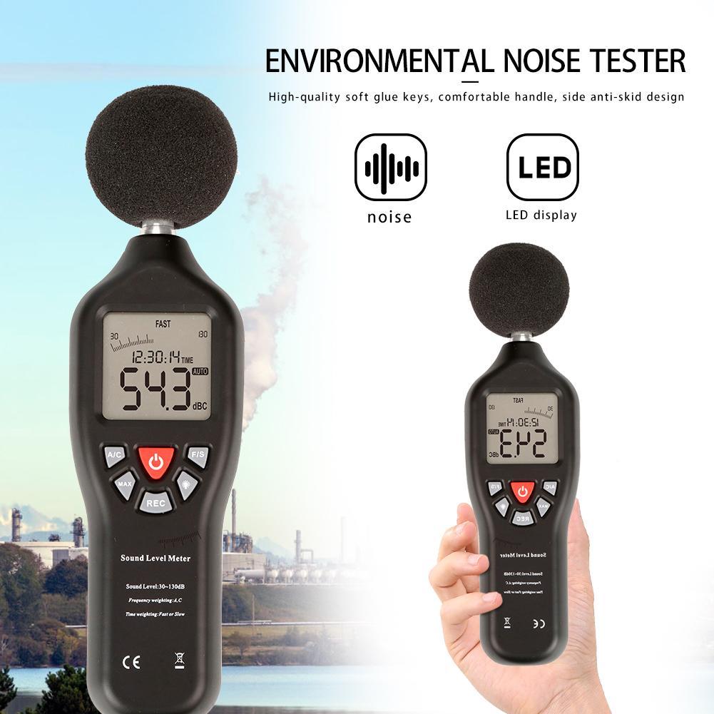Medidor de Nível de Som Digital Noise Decibel Monitor 30-130dB Testers Detector De Áudio AC/D Função de Saída Display Retroiluminado Branco