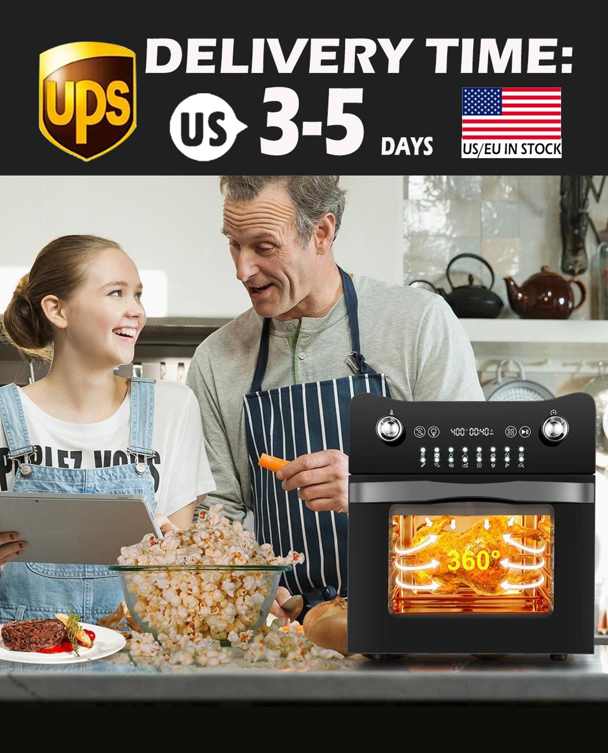 14.7QT Electric Toaster Oven 1800W Electric LED Touch Screen 16-in-1 Smart Air Fryer