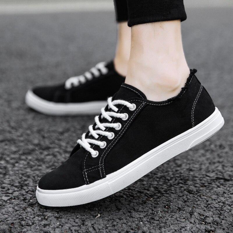 Fashion Canvas Shoes Men Sneakers Low Top Black Shoes Men's Casual Shoes Brand Flat Lace-Up
