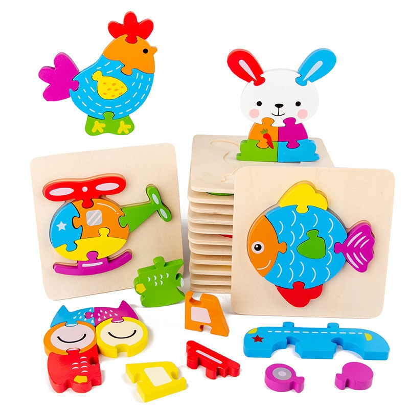 Kids 3D Wooden Puzzles Games Cartoon Animals Cognitive Jigsaw Puzzle Educational Toys for Children G