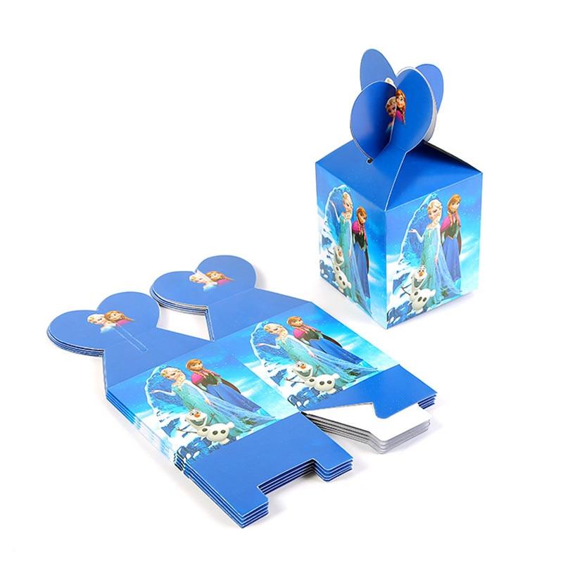 Decoración de fiesta de Frozen elsa anna caja de caramelos de dibujos animados Snow Queen caja de regalo niña niños suministros de decoración para fiesta de cumpleaños 6 uds