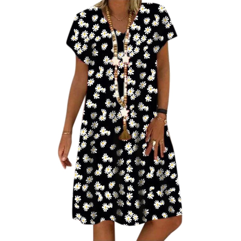 Vicabo Oversize V Neck Women Dress Summer 2020 Floral Print Casual Short Sleeve Daisy Dresses Ladies Flower Print Loose Vestidos