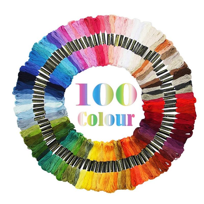 New 50/100 pcs Random Color embroidery DIY Silk Line Branch Threads Similar Dmc Thread Floss Skein Cross Stitch Thread