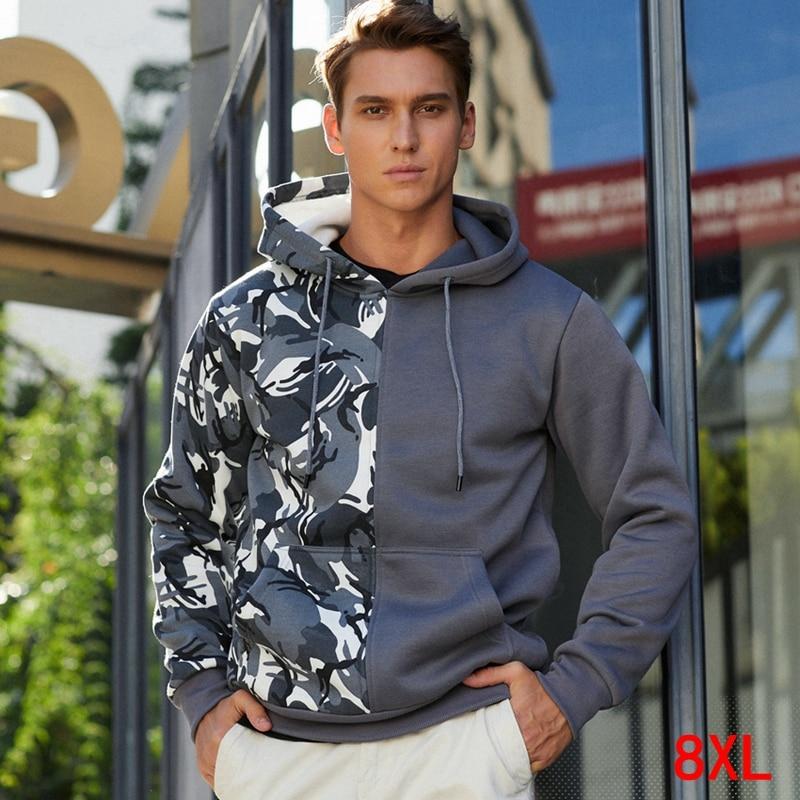 Sudadera con capucha de camuflaje de gran tamaño colorblock de talla grande 6XL 7XL 8XL Otoño e Invierno de manga larga de bolsillo polar sudadera caliente
