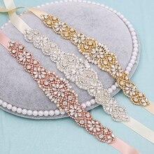 Cinturón de boda con diamantes de imitación, accesorio de boda satinado de cristal, accesorios de boda, cinturones de cinta nupcial 155RG
