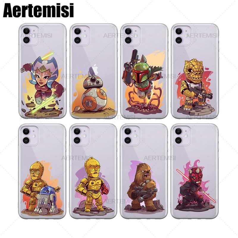 Aertemisi 電話ケース Ahsoka 田野 BB-8 ボバ Fettt Bossk C-3PO Tpu ケースカバー iPhone 6 6s 7 8 プラス X XS XR 11 プロマックス