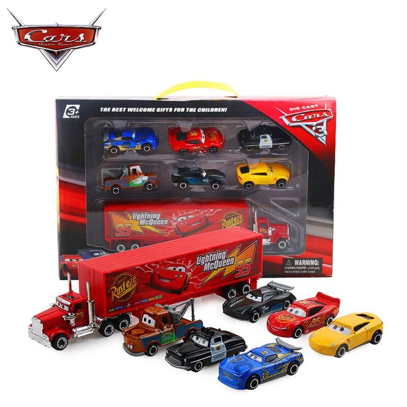 7 unids/set Disney Pixar coches 3 Rayo McQueen Jackson tormenta Cruz Mater Mack tío camión 155 Diecast Metal de modelo de coche juguetes de niño