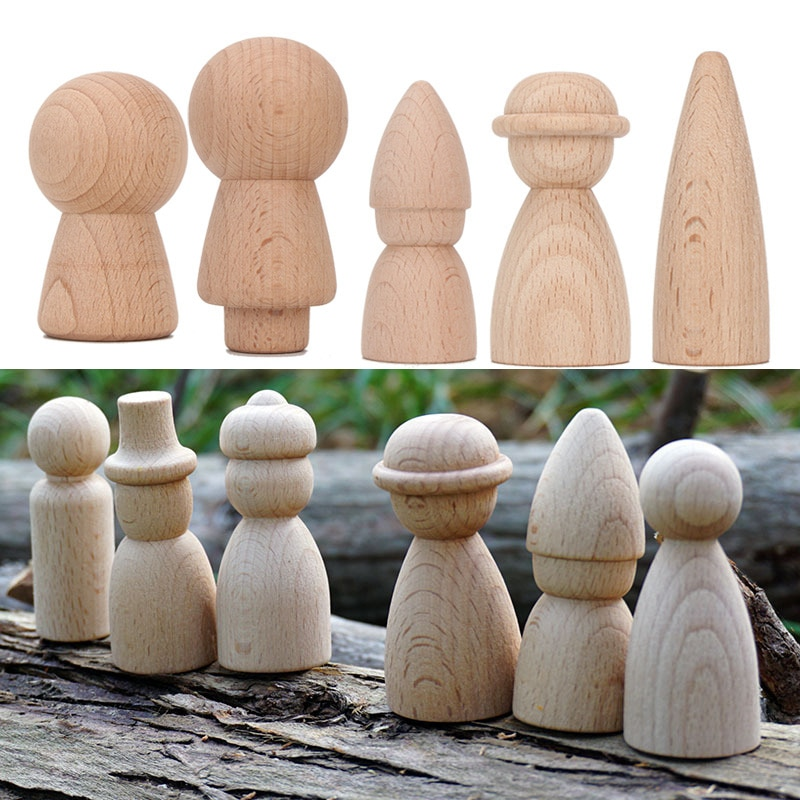 30pc DIY Wood Crafts Peg Dolls Ins Cone Building Block Beech Wood Ornaments Wooden Toy Craft Supplies Wood Decoration for Room