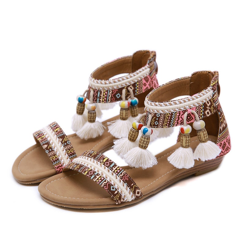 New 2021 national style sandals women Bohemian tassels Roman Shoes for girl