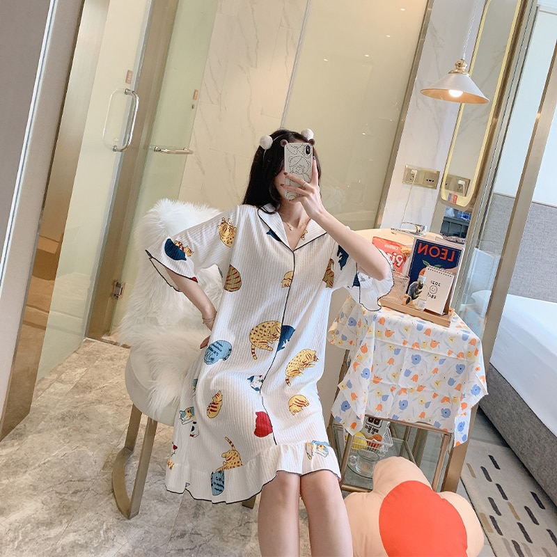 CAIYIER Lovely Cat Cartoon Print Girl Nightgown Cotton Pajamas Ladies Pullover Half Sleeve Dress Flounty Loose Casual Nightdress suspender nightdress women s summer thin pure cotton lovely little girl s nightdress summer cartoon print dress sub panel plaid