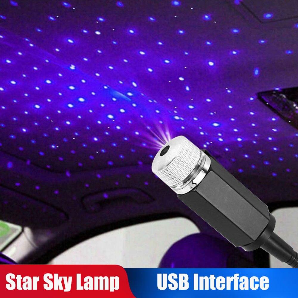 Luz LED azul de noche Flexible para techo de coche, luz LED para proyector de bajo consumo, luz para conducción divertida, lámpara de galaxia