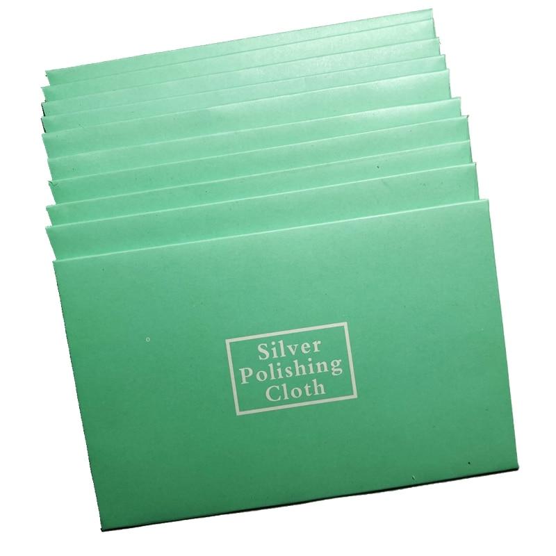 100 قطعة تنظيف الفضة تلميع القماش حزمة مسح الكرتون كرتون الفردية التعبئة للمجوهرات الجلد المدبوغ صيانة