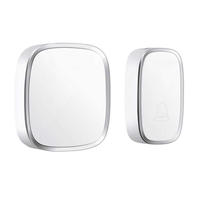 Ip44 Waterproof Wireless Doorbell 280M Range Smart Home Door Bell Chime Ring 1 Button 1 Receiver Vc110-220V(Eu Plug)