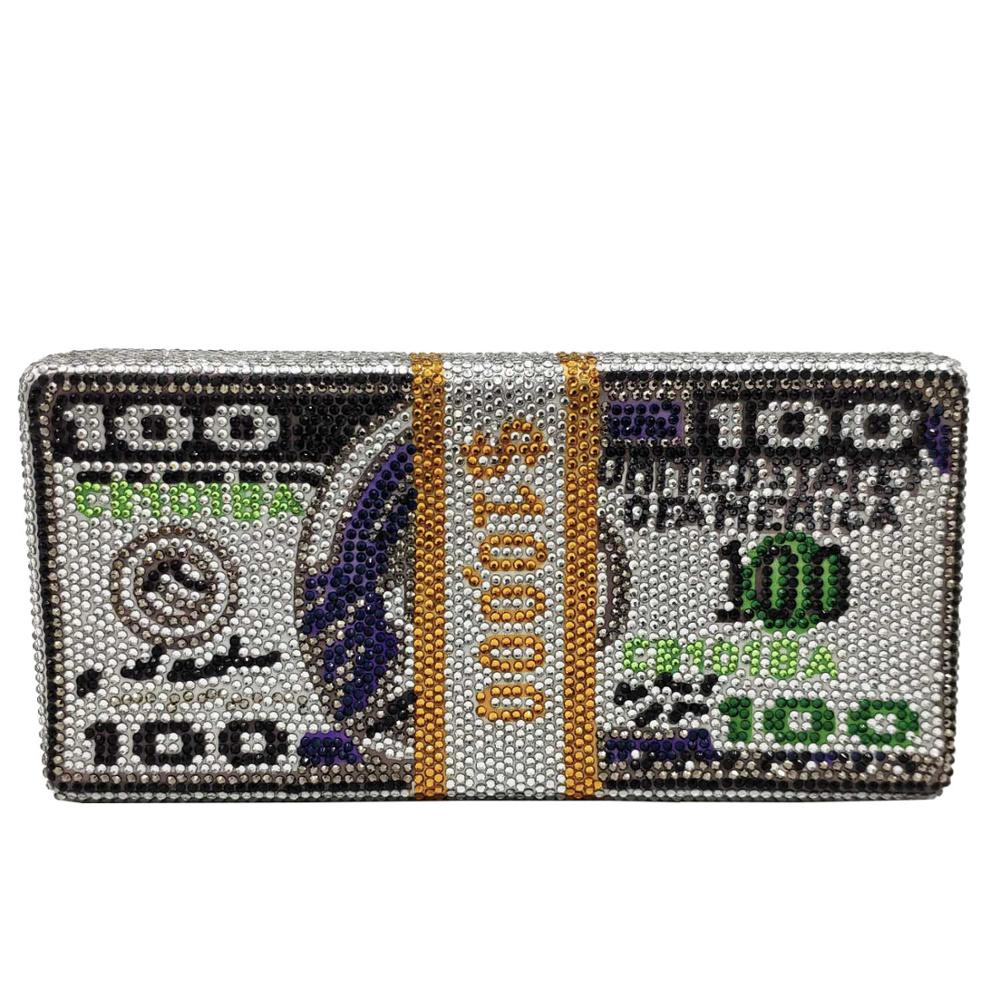 Onequeen 1000 dólar bill caixa de embreagem noite saco jewelled cristal festa sacos