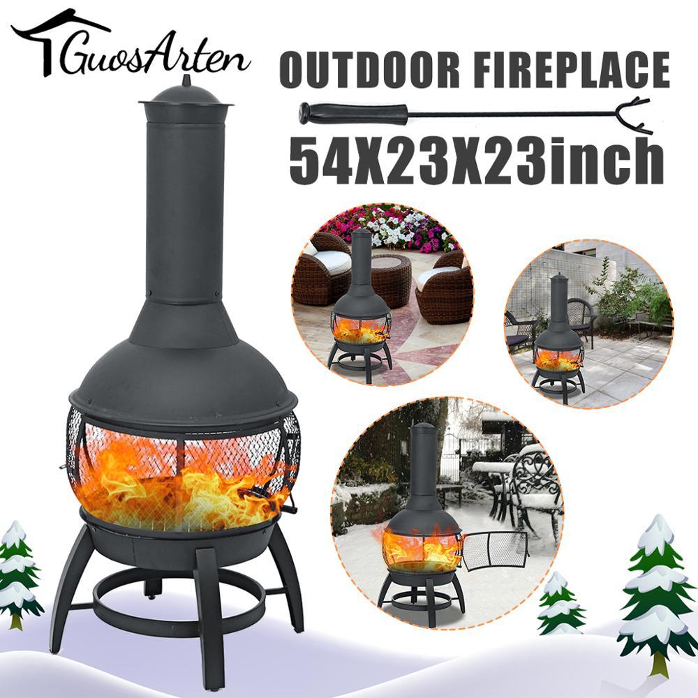 Madeira portátil queima chaminé fogueira pit calefator braseiro decoração para quintal poolside ferro pátio preto metal fire bowl