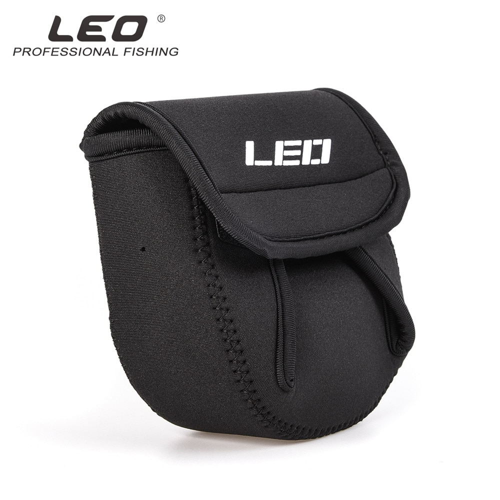 LEO Super Light And Strong Portable Black Neoprene Spinning Reel Pouch Baitcasting Fishing Reel Bag Protective Case Cover Holder enlarge
