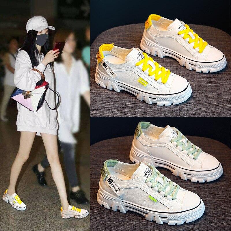 حذاء رياضي نسائي أبيض ، حذاء رياضي ربيعي غير رسمي ، يناسب كل شيء