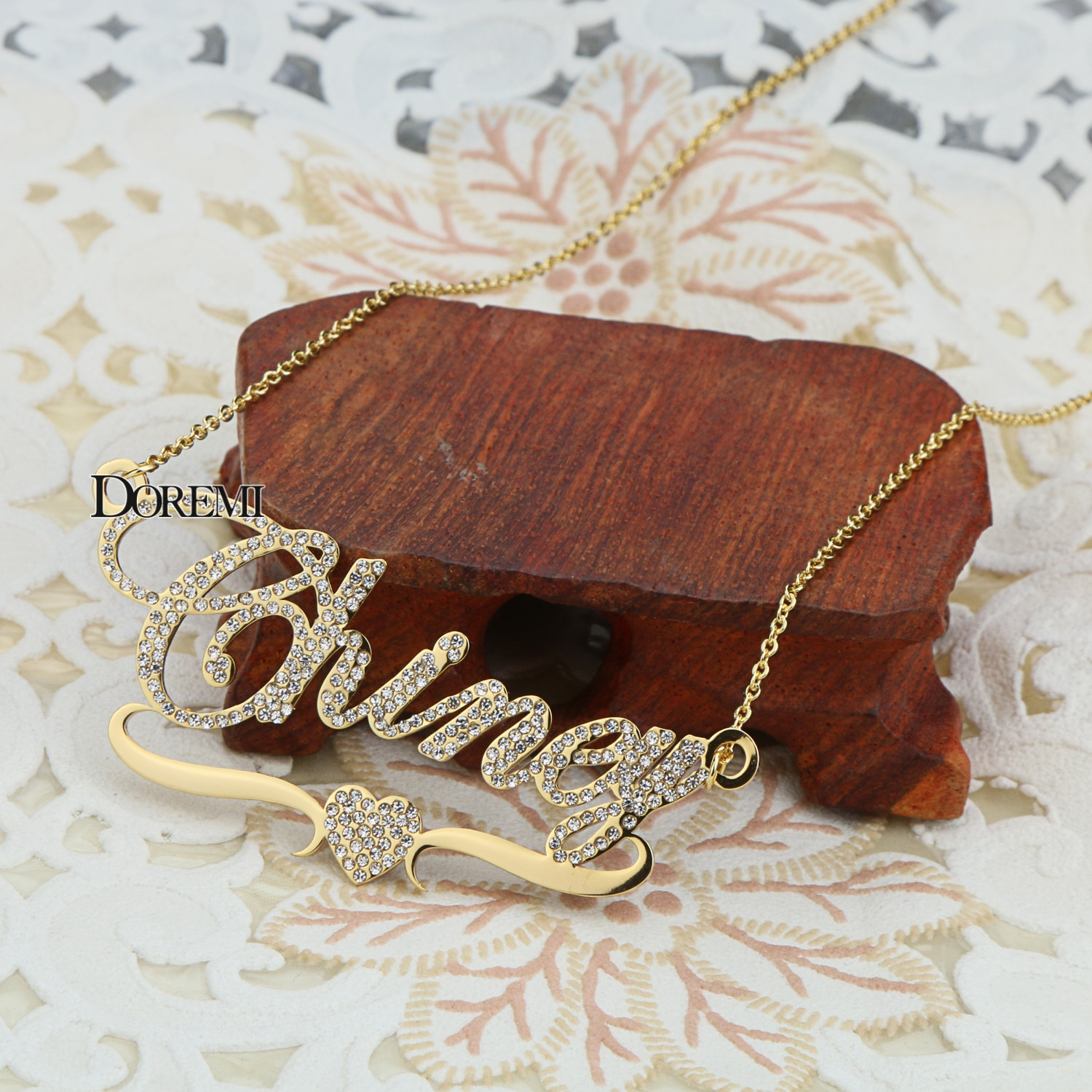DOREMI Stainlesss Custom Name Necklaces Pendant Letters Necklace for Women Custom Chain Jewelry  Children Personalized Gold