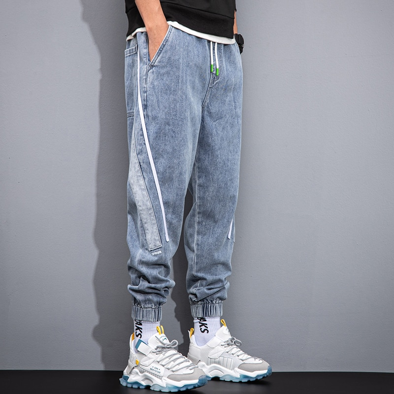 Trendy Brand Spring and Autumn New Jeans Men's Trendy Loose Wide-Leg Ankle-Tied Trousers All-Matching Work Clothes Casual Pants