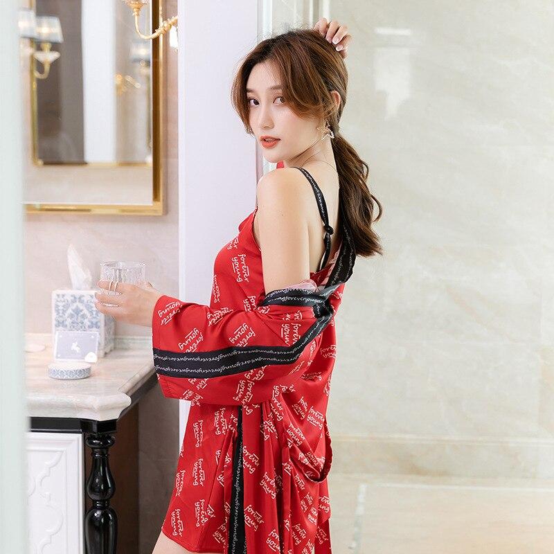طقم لانجري نسائي مكون من قطعتين ، ملابس منزلية نبيلة ، تشبه الحرير ، مطبوع ، حزام ، ثوب نوم ، ملابس نوم
