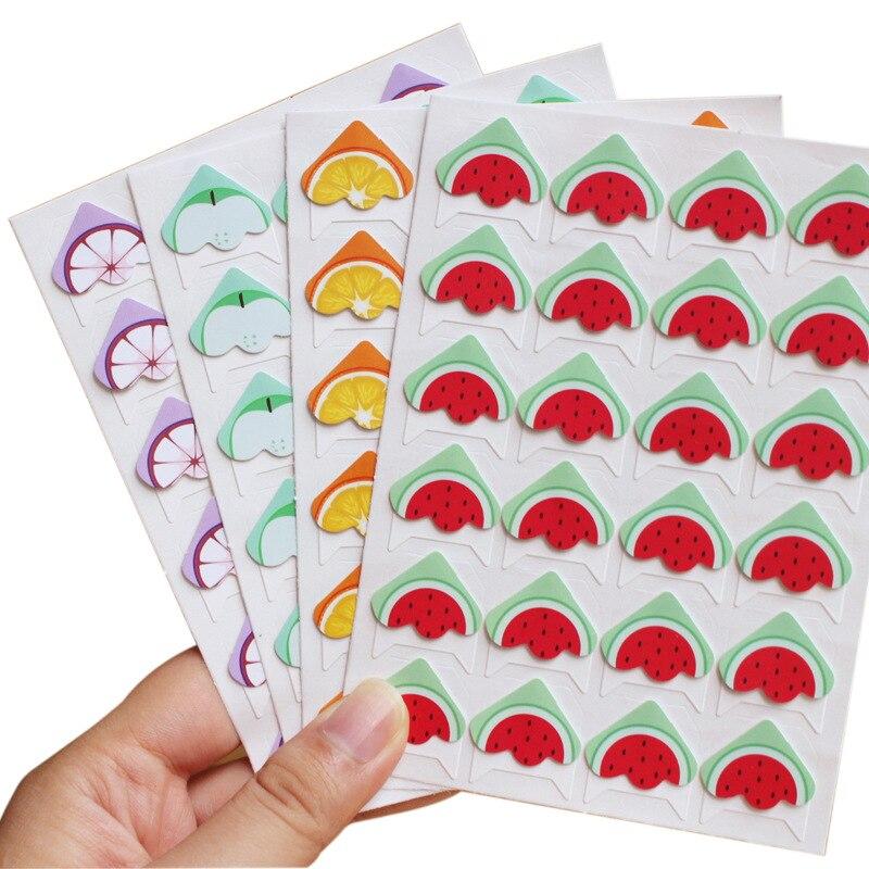 96 unids/lote (4 hojas) Juego de frutas DIY pegatinas de esquina de dibujos animados lindo adhesivo de papel para álbumes de fotos álbum de recortes para decoración de Marcos