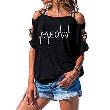 Cute T Shirt Women  Print Meow cat O-neck Casual tshirt Fashion Shirt Short-Sleeve Unisex T-shirt Out Shoulder Tee