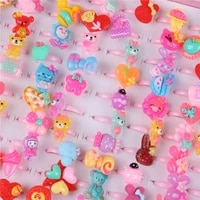 10 pcs cute colorful kawaii childrens day jewelry plastic kids rings for girls with mixed style resin cabochons