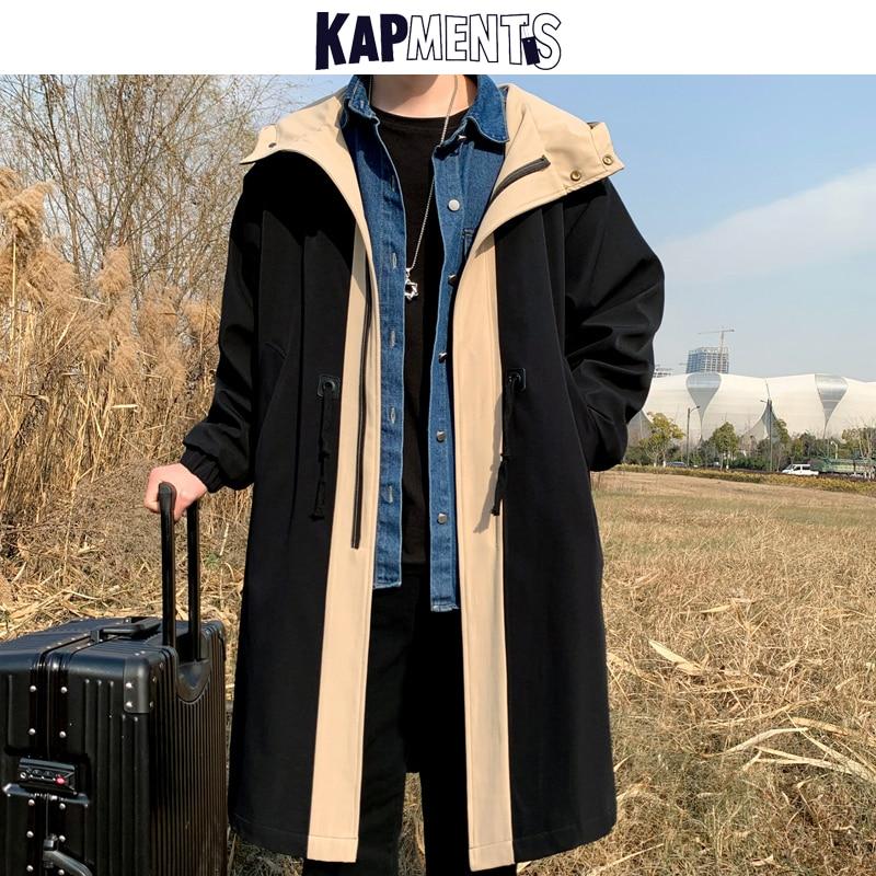 KAPMENTS Men Harajuku Patchwork Long Trench Coat 2021 Mens Autumn Streetwear Punk Long Coat Male Kor