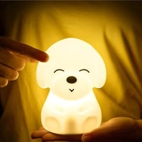 dog led night light touch sensor remote control 16 colors dimmable usb rechargeable silicone puppy lamp for children baby gift