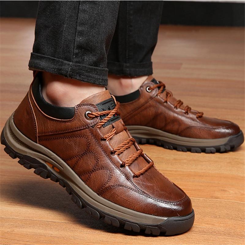 Высококачественные мужские Новые повседневные кожаные ботинки в стиле ретро со шнуровкой рандомные спортивные Нескользящие Молодежные по...