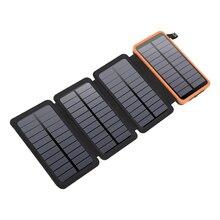 Batterie solaire pliable 10000mAh pour iPhone Xiaomi Mi Powerbank batterie externe Portable étanche batterie avec lampe de poche