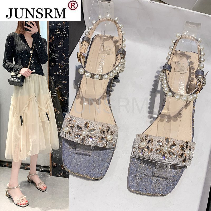 Rimocy Crystal Pearl Women Sandals Summer Fashion Square Toes Party Sandalias Mujer 2021 Outdoor Light Breathable Shoes Woman