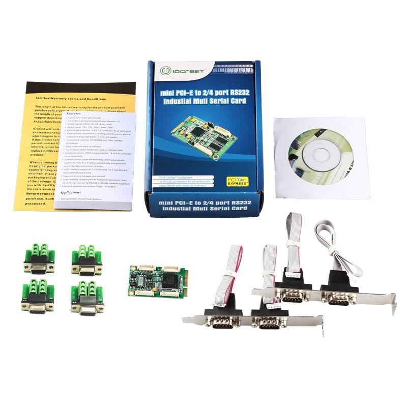 Mini Tarjeta de puerto serie Industrial de 4 puertos RS422 RS485 de alta velocidad PCI-Express
