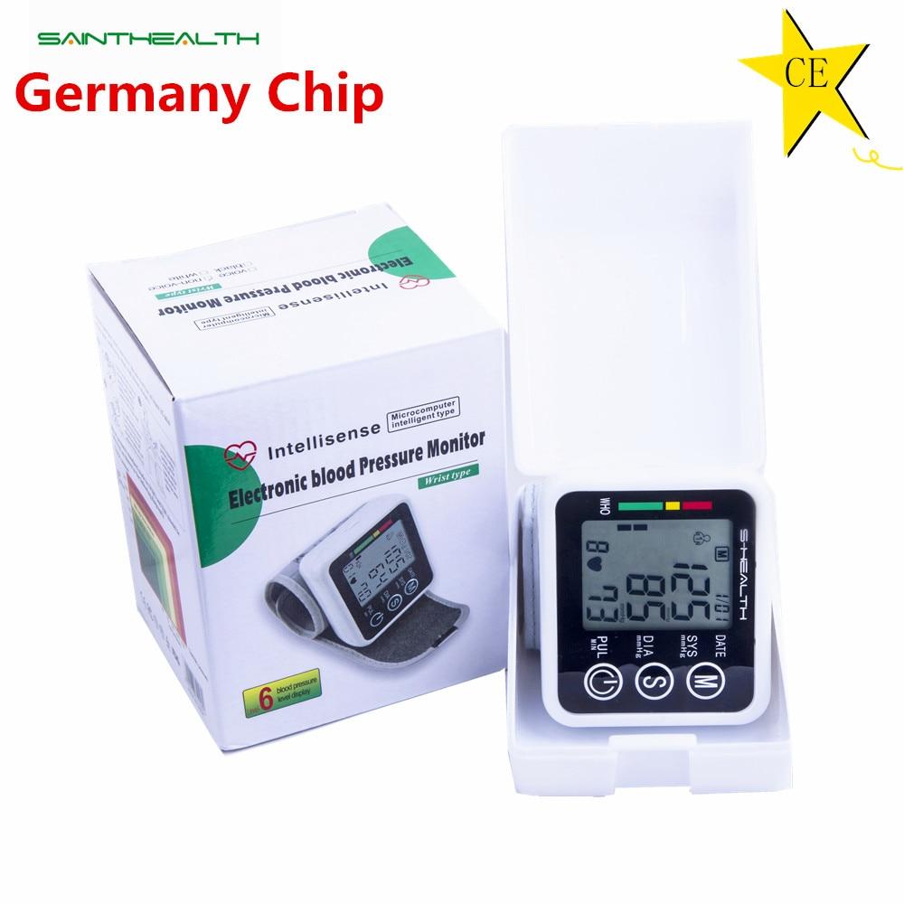 Saint Health tonómetro de muñeca automático Monitor de presión arterial Digital LCD manguito de muñeca medidor de presión arterial esfigmomanómetro