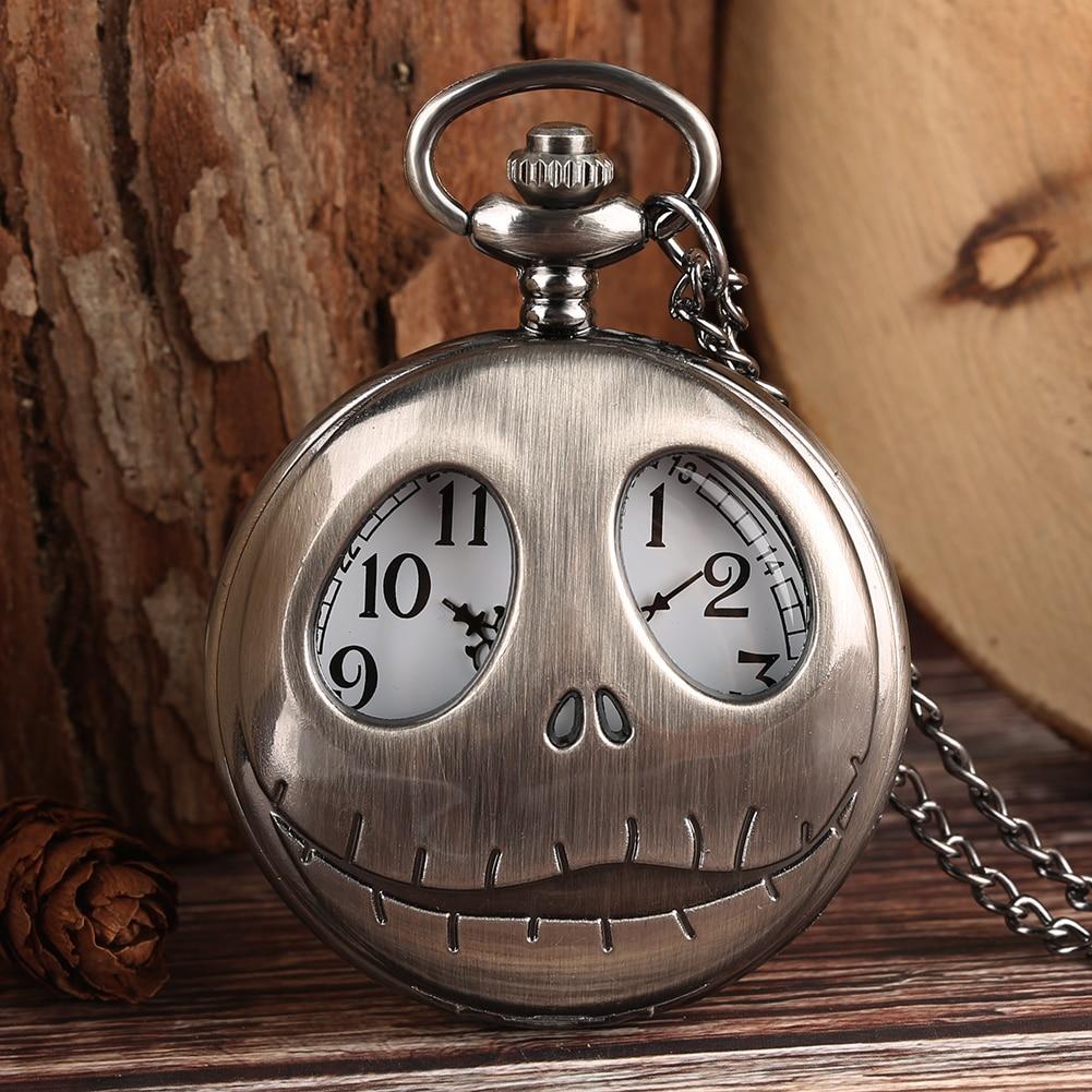 Pocket Watch Tim Burton The Nightmare Before Christmas Quartz Retro Frog Big Eyes Jack Skellington Necklace Pendant Skull