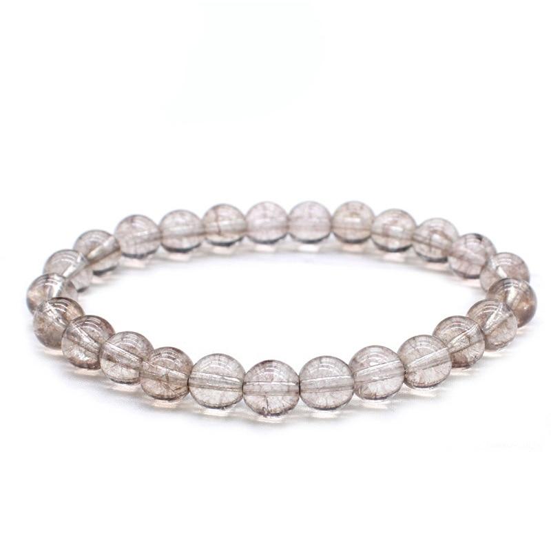 8mm transparente gris blanco nieve cristal agrietado Piedra natural pulsera mujeres hombres Yoga pulsera India Buda poder joyería regalo